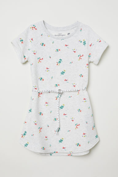 Sweatshirt dress with a belt - Light grey marl/Floral - Kids | H&M