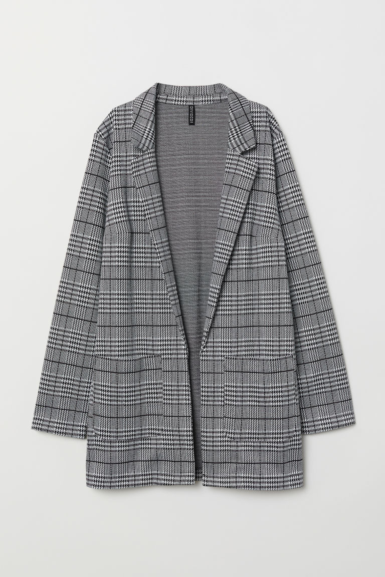 Long jacket - Black/Dogtooth-patterned -  | H&M
