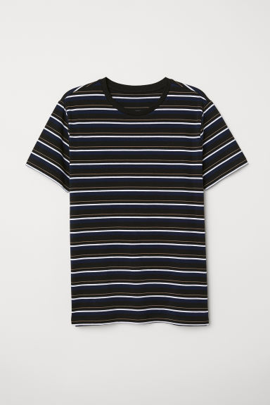 T-shirt Muscle fit - Nero/righe - UOMO | H&M IT