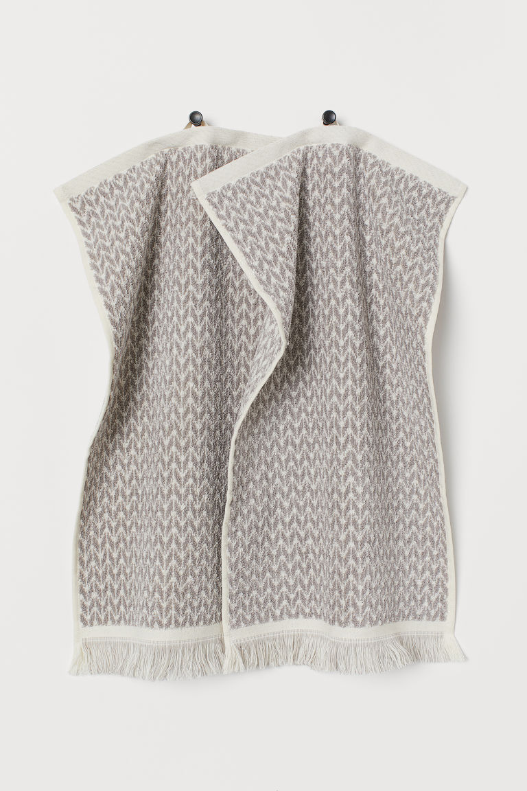 2-pack Cotton Guest Towels - Taupe/natural white - Home All | H&M CA