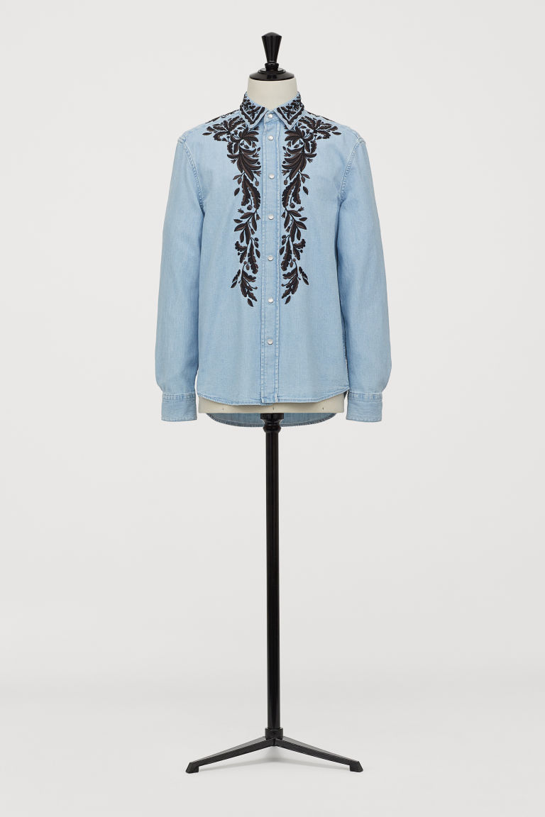 Denim Shirt with Embroidery - Light denim blue - Men | H&M US