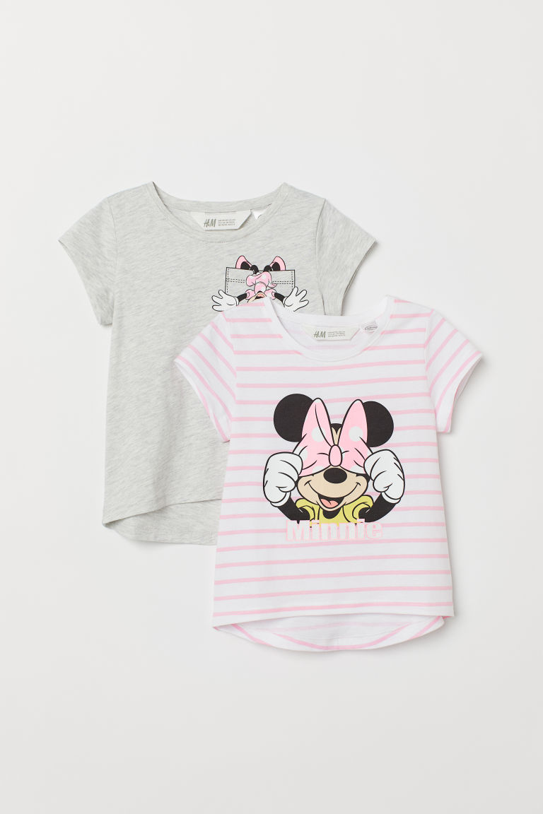 2-pack printed jersey tops - White/Minnie Mouse - Kids | H&M CN