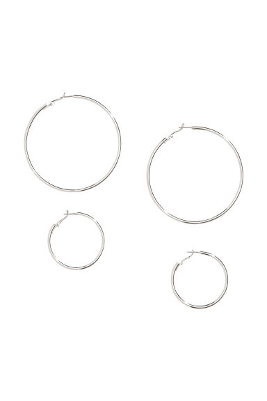 2 Pairs Earrings - Silver-colored -  | H&M US