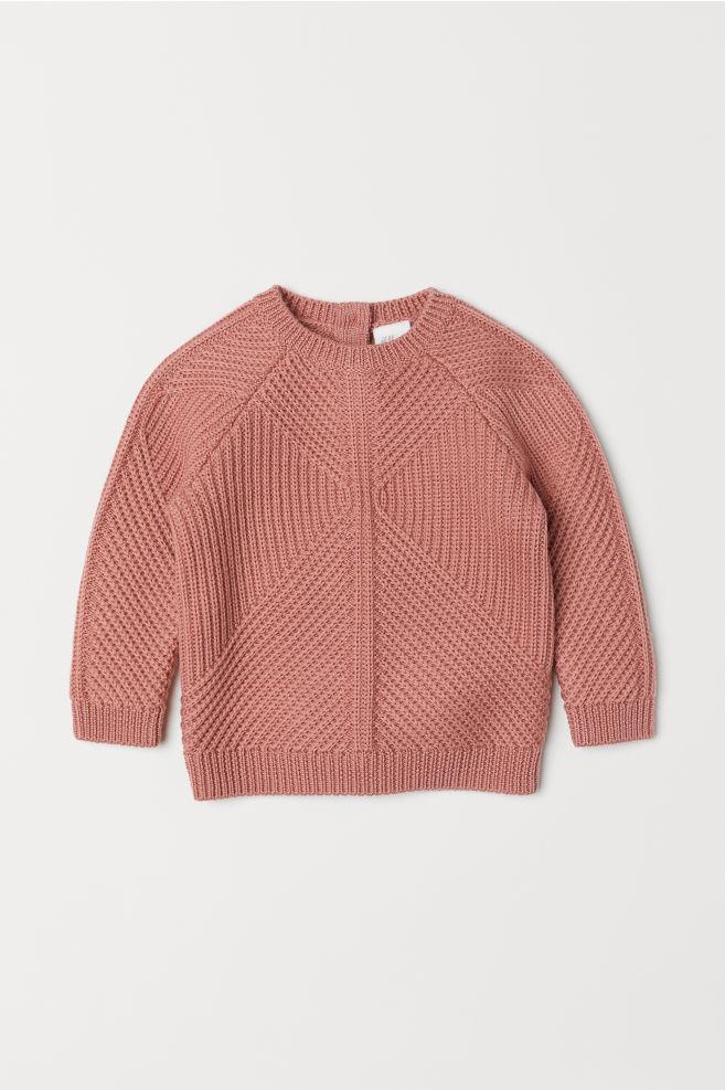 d137ef3b3ed0 Pattern-knit Wool Sweater - Powder pink -