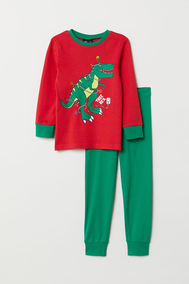 Jersey pyjamas - Red/Dinosaur - Kids | H&M