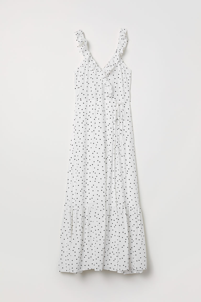 Long flounced dress - White/Spotted - Ladies | H&M