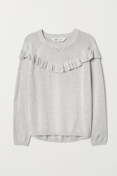 Fine-knit frilled jumper - Light grey marl - Kids | H&M