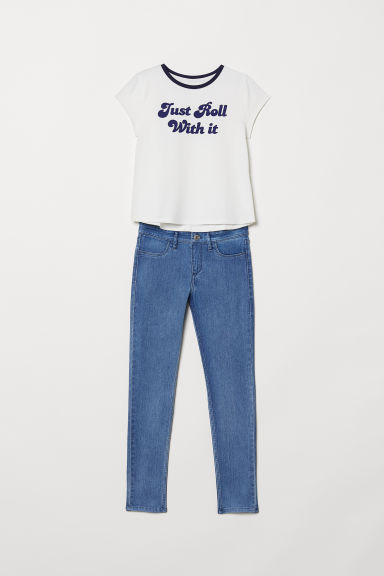 T-shirt and Skinny Fit Jeans - Denim blue/White - Kids | H&M