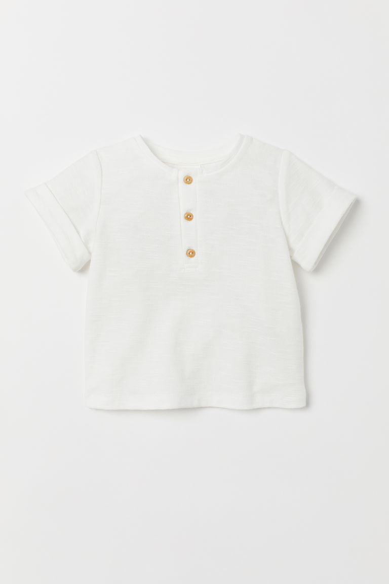 T-shirt with Buttons - White - Kids | H&M US