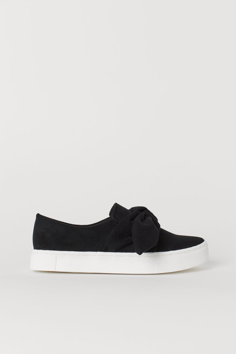 Slip-on trainers - Black/Imitation suede - Ladies | H&M GB