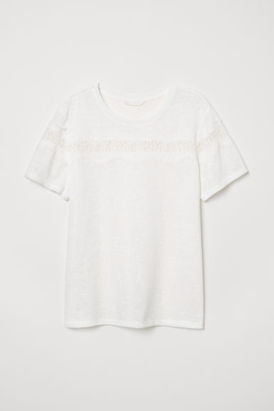 T-shirt with lace - White - Ladies | H&M CN