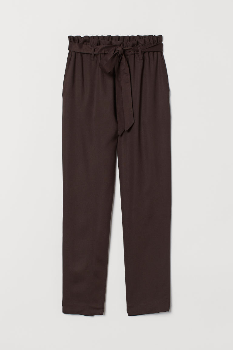 Paper-bag Pants - Dark brown - Ladies | H&M CA