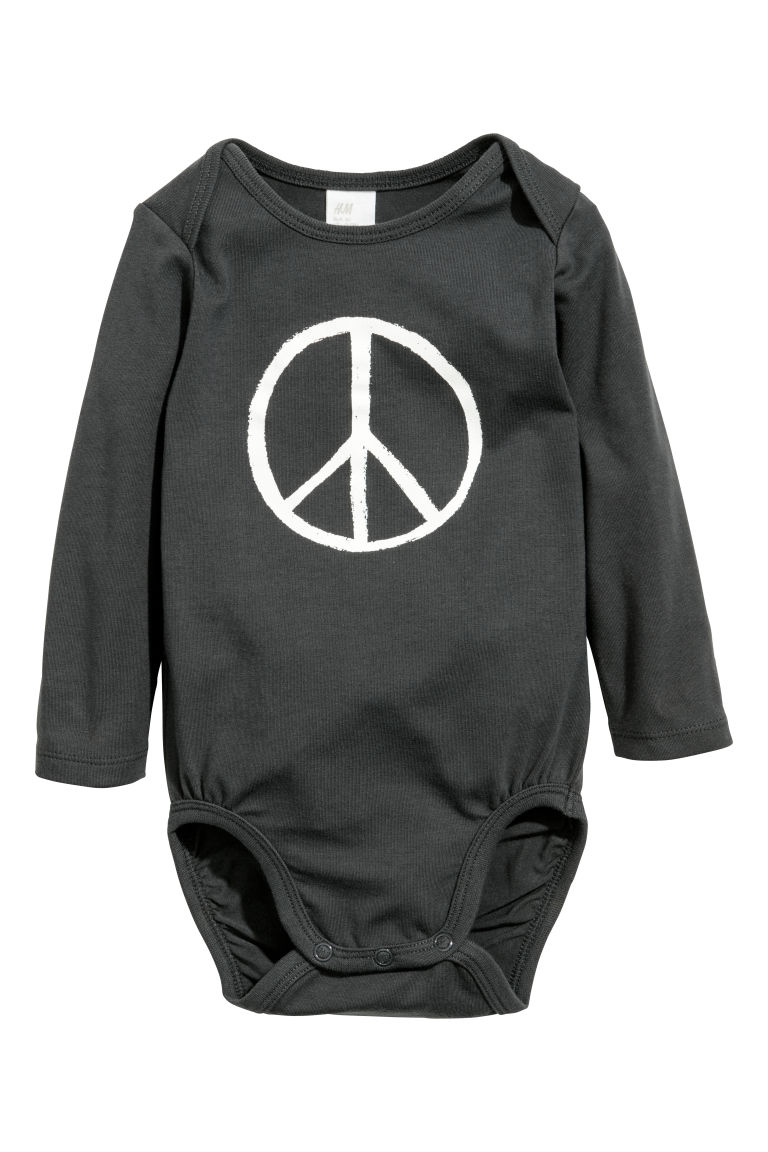 2-pack long-sleeved bodysuits - Dark grey/Peace - Kids | H&M CN