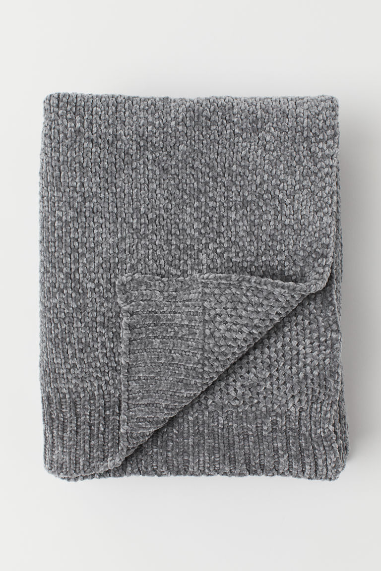 Chenille blanket - Grey - Home All | H&M CN
