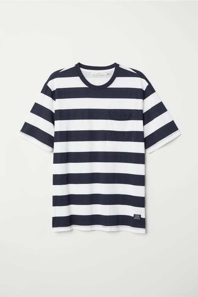 8c1bc0eb0d T-shirt with Chest Pocket - Dark blue/white striped - Men   H&M US