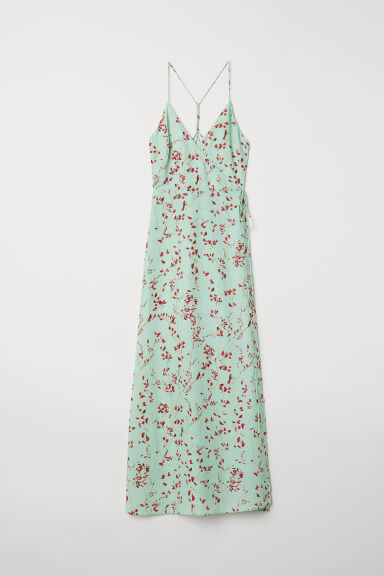 Long wrap dress - Light green/Patterned - Ladies | H&M CN