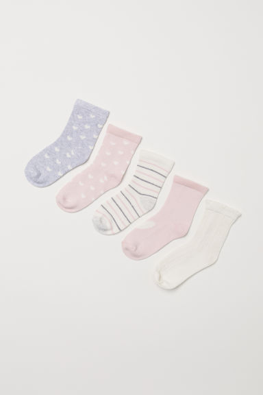 5-pack socks - Light pink/Hearts - Kids | H&M