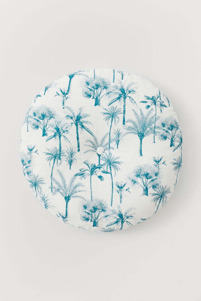 Round seat cushion - White/Palm trees - Home All | H&M CN