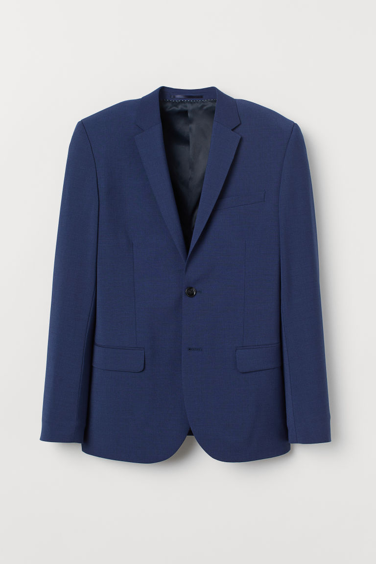 Wool-blend jacket Skinny Fit - Dark blue - Men | H&M