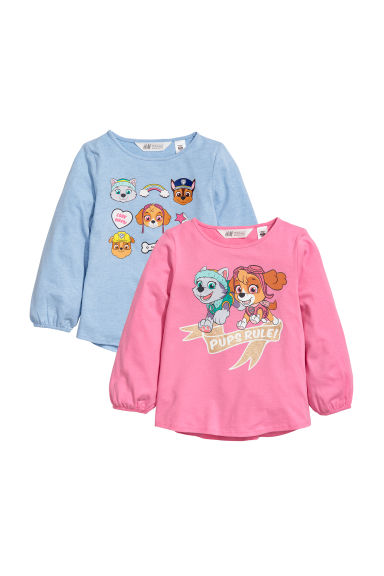 2-pack long-sleeved tops - Pink/Paw Patrol -  | H&M CN