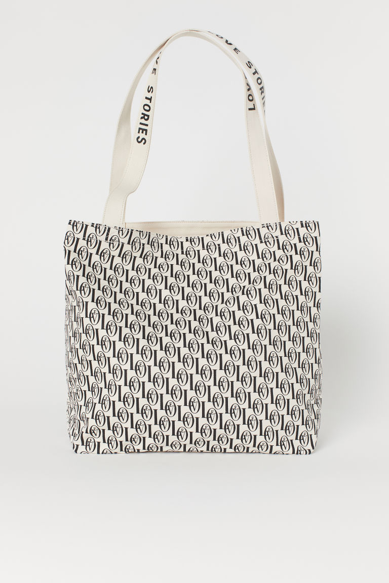 Patterned Beach Bag - Light beige/Love Stories - Ladies | H&M CA