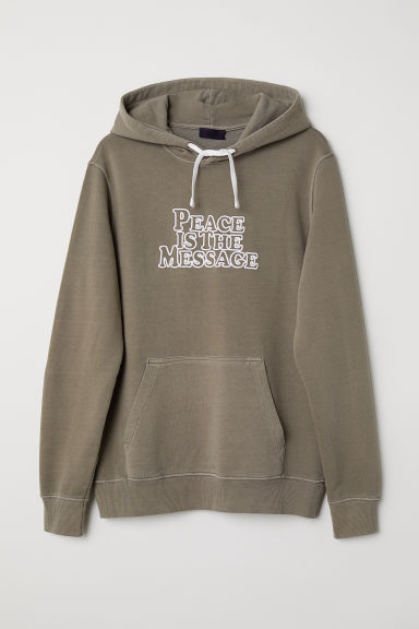 Text-print hooded top - Khaki green - Men | H&M