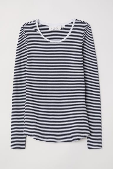 Long-sleeved jersey top - Dark blue/Striped - Ladies | H&M CN