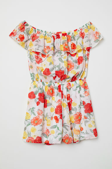 Off-the-shoulder playsuit - White/Floral - Ladies | H&M