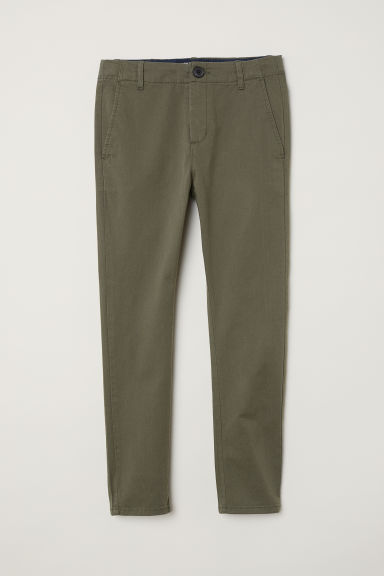 Cotton chinos - Dark khaki green -  | H&M
