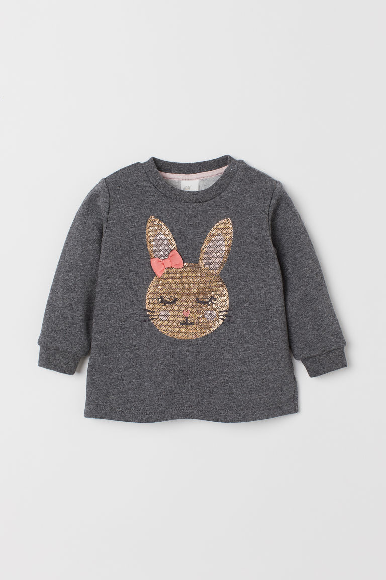 Sweat-shirt avec broderies - Gris foncé chiné/lapin -  | H&M BE