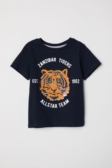 Reversible sequin T-shirt - Dark blue/Tiger - Kids | H&M
