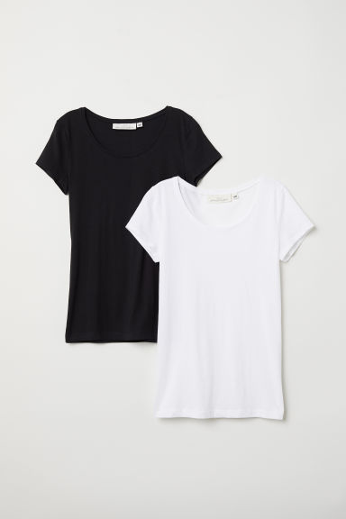 2-pack short-sleeved tops - White/Black - Ladies | H&M CN