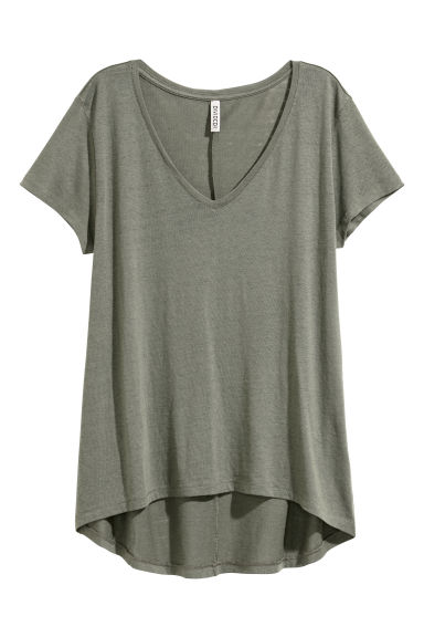 V-neck jersey top - Khaki green -  | H&M