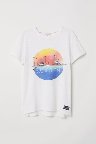 Printed T-shirt - Natural white/Surf's On - Kids | H&M