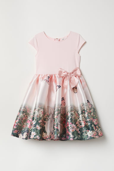 Dress with a flared skirt - Powder pink/Butterflies - Kids | H&M CN