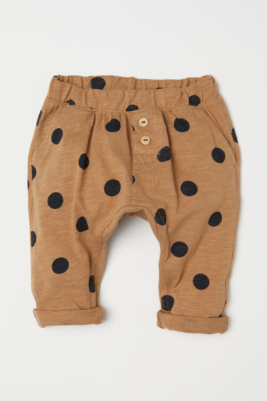 Cotton trousers - Dark beige/Spotted - Kids | H&M
