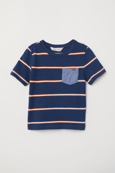 Patterned T-shirt - Dark blue/Striped - Kids | H&M