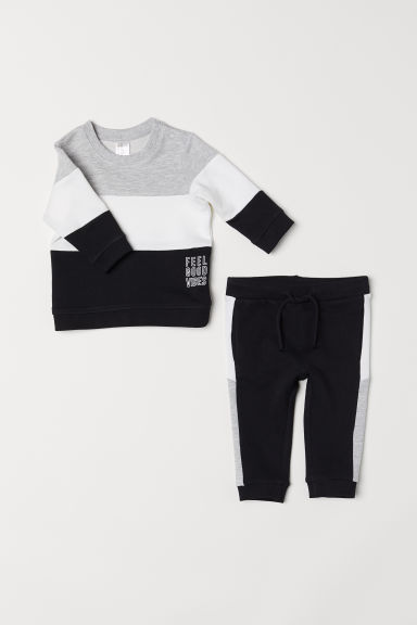 Sweatshirt and joggers - Black/Light grey marl - Kids | H&M