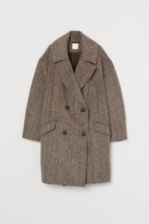 Oversized wool-blend coatModel