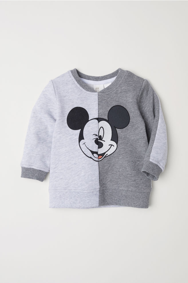 ccf1db89f Sweatshirt with Printed Design - Gray melange/Mickey Mouse - Kids | H&M ...