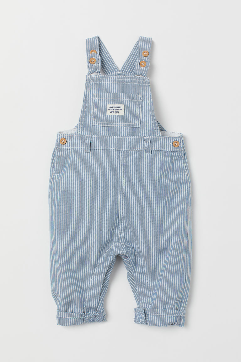 Cotton dungarees - Light blue/Striped - Kids | H&M IE