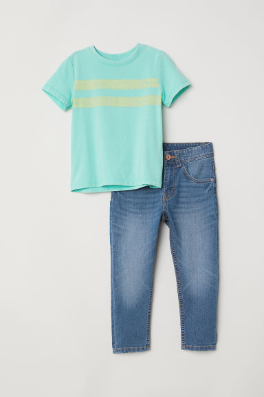 T-shirt and Relaxed Jeans - Denim blue/Light green - Kids | H&M