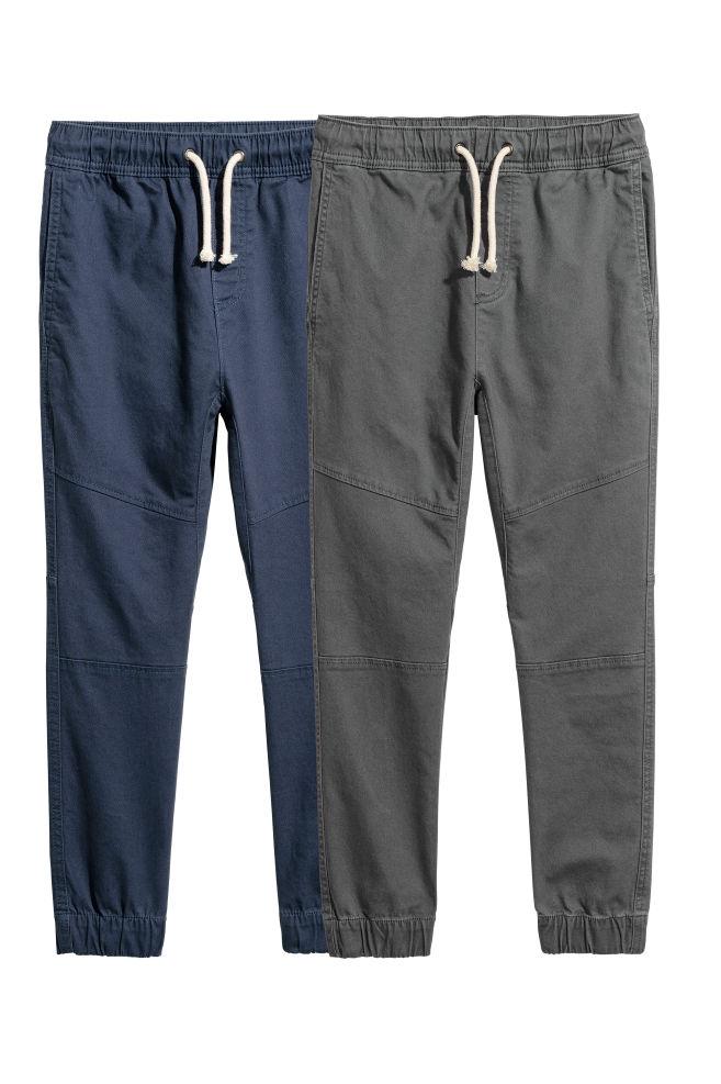 e914c5de 2-pack pull on-bukse - Mørk blå/Mørk grå - BARN   H&M NO