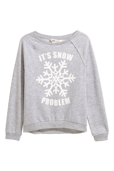 Sweatshirt with a motif - Grey marl/Snowflake - Kids | H&M CN