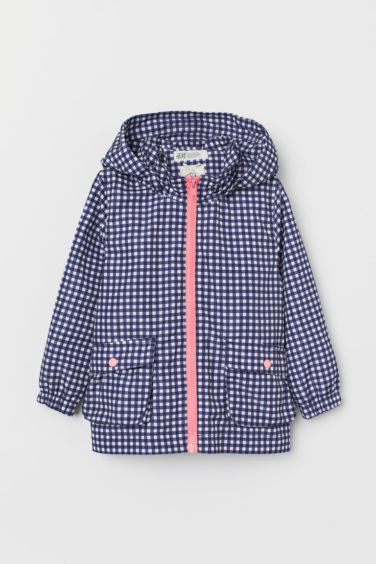 Hooded parka - Dark blue/Checked -  | H&M