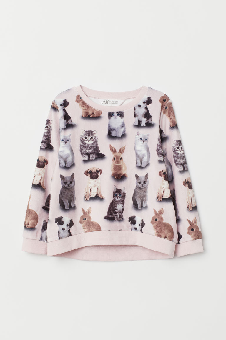 Printed sweatshirt - Light pink/Cats - Kids | H&M