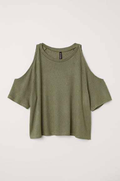 Cold-shouldertop - Kakigroen -  | H&M BE