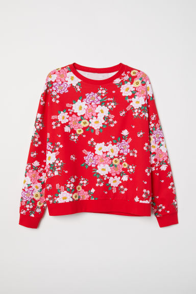 H&M+ Printed sweatshirt - Bright red/Floral - Ladies | H&M