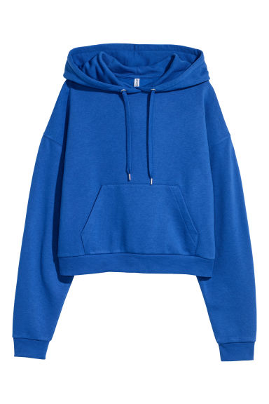 Short Hooded Sweatshirt - Bright blue -  | H&M US