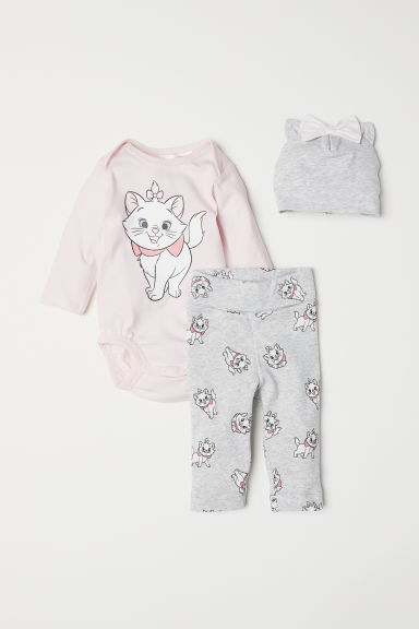 3-piece jersey set - Light pink/Aristocats - Kids | H&M CN